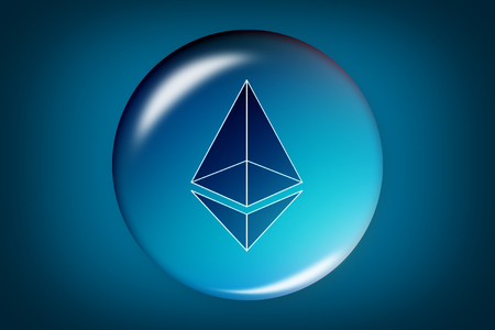 Ethereum. Ethereum in soap bubble on black background