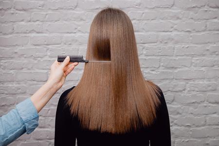 Sick, cut and healthy hair. Hair after treatment.
