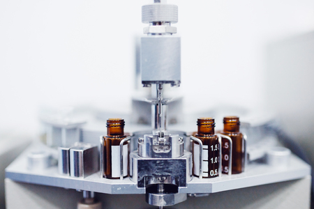 Pharmaceutical industry. Pharmaceutical production of liquid pharmaceuticals Stockfoto