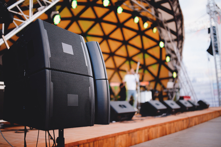sound stage equipment spot lights and loudspeaker Stock Photo