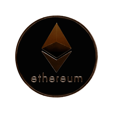 Ethereum. Ethereum background white isolated ISO coin