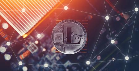 Litecoin. Litecoin on dark background. Concept Blockchain, cryptocurrencies