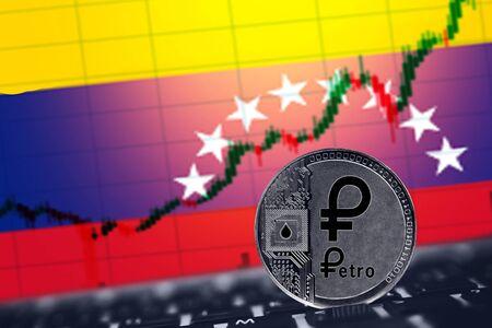 Venezuela Petro. Coin Cryptocurrency PTR background of flag of Venezuela