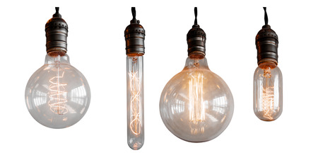 Set Isolated edison retro lamp on white background of different shapes. Imagens