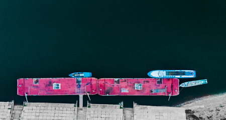 Top view of drone, wharf of ship. Stock Photo