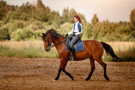 Young woman jockey riding brown horse strolling across field. Concept rest for rich people.