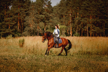 Young woman jockey gallop brown horse strolling across field. Concept rest for rich people.