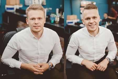 Before and after Man in barber chair, hairdresser styling in barbershop Stock Photo