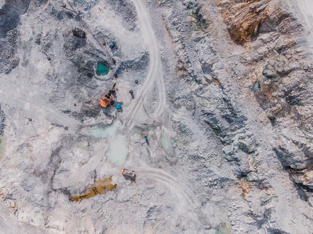Aerial view drone Open pit mine, digging for gold, minerals, iron ore, marble extractive industry Stock Photo - 107413734