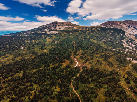 Sheregesh, Kemerovo, Russia, Aerial view drone mountains and forest, ski resort Stock Photo - 107413735
