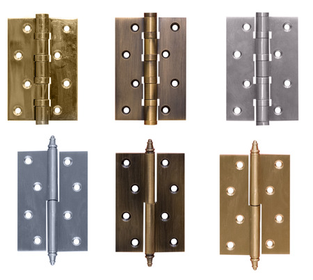 Door hinge bronze on isolated white background
