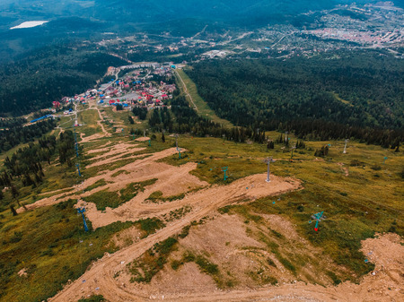 Sheregesh, Kemerovo, Russia, Aerial view drone mountains and forest, ski resort Stock Photo - 107414058