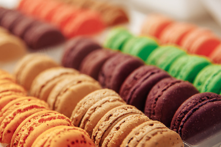 candy Macaroons at Chocolate Exhibition, Bruxelles, Belgium and French cake dessert Stock Photo - 107414059
