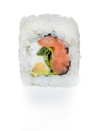 Japanese food eating roll sushi on white isolated background. Stock Photo - 107414071