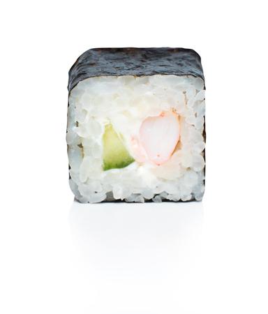 Japanese food eating roll sushi on white isolated background. Stock Photo - 107413772