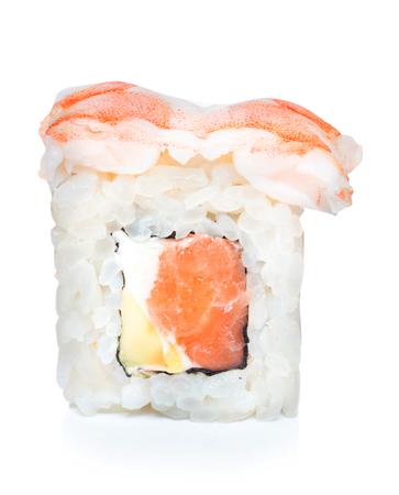 Japanese food eating roll sushi on white isolated background. Stock Photo - 107413778