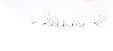 Set artificial lashes white isolated background, eyelash extension. Stock Photo - 107414074