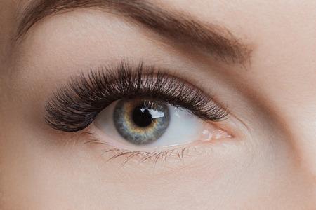 Procedimiento de extensión de pestañas. Hermosos ojos femeninos con pestañas largas, primer plano Foto de archivo