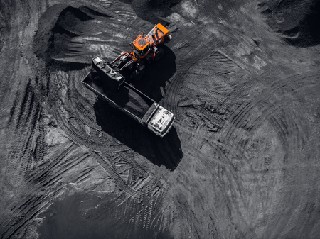 Open pit mine, extractive industry for coal, top view aerial drone Stock Photo - 107723600