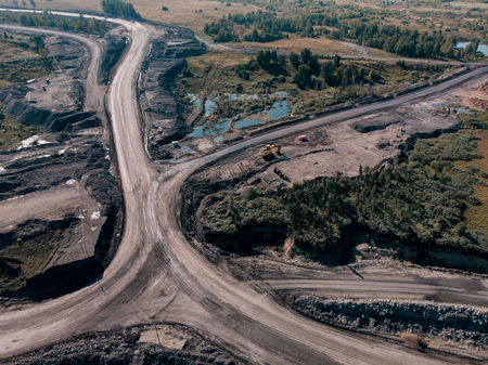 Open pit mine, extractive industry for coal, Russia, Kemerovo. Stock Photo - 107723602