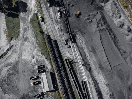 Open pit mine, extractive industry for coal, top view aerial drone Stock Photo - 107723604