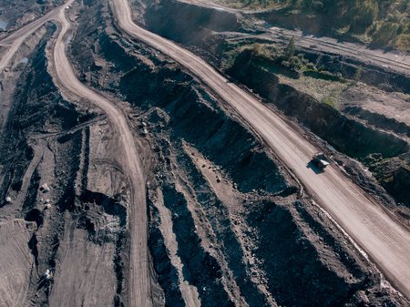 Open pit mine, extractive industry for coal, top view aerial drone Stock Photo - 107723605