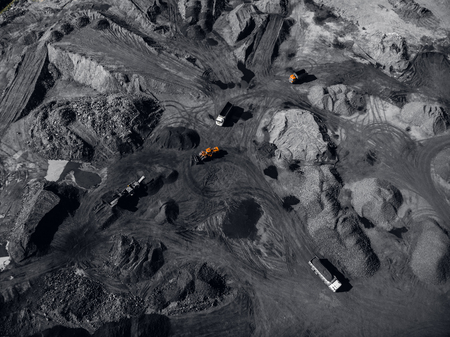 Open pit mine, extractive industry for coal, top view aerial drone Stock Photo - 107723606
