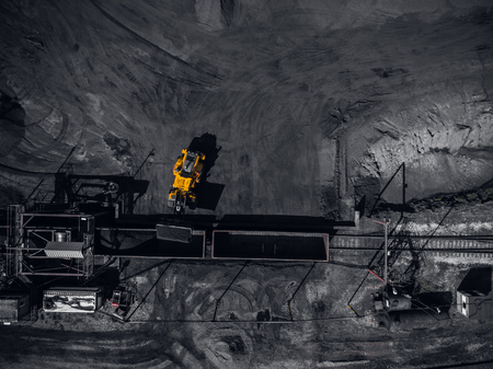 Open pit mine, extractive industry for coal, top view aerial drone Stock Photo - 107723609