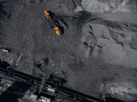 Open pit mine, extractive industry for coal, top view aerial drone Stock Photo - 107723611
