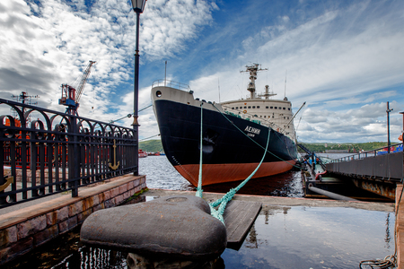 MURMANSK, RUSSIA- June 27, 2018: Lenin is a Soviet nuclear-powered icebreaker. Launched in 1957, it was both world first nuclear surface ship