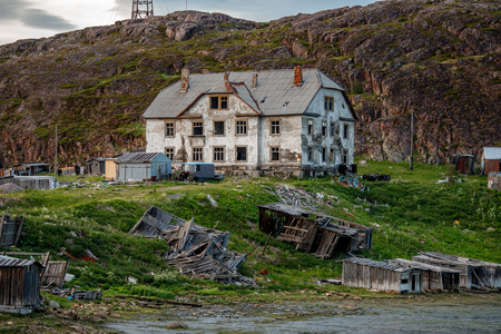 Abandoned building in the village of Teriberka, Kola Peninsula, Russia.