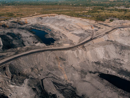 Open pit mine, extractive industry for coal, Russia, Kemerovo.