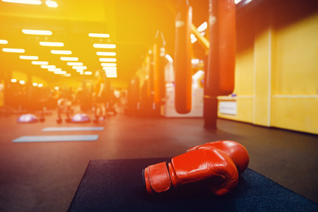Boxing gloves in the ring. high contrast and monochrome color tone. Stock Photo