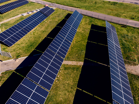 Solar panels for generating clean, green energy. concept of renewables. Top view. Stock Photo