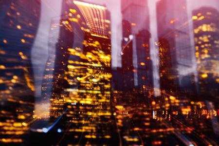Monochrome skyscraper blurred background in motion. Concept business