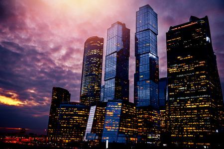 Moscow city International Business Center sunset Russia