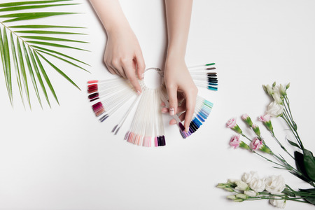 Beautiful photo of womans hands with palette colors gel varnishes. Fashion care, nude manicure. Near palm green leaf and light pink flowers. Top view