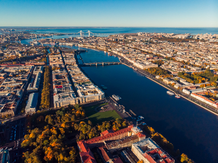 St. Petersburg top shooting aerial drone. View of city, Neva river, Finnish Bay and bridges