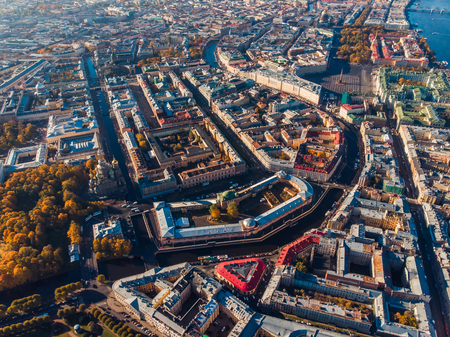 Urban area, main streets and attractions of St. Petersburg. Autumn Sunny day. Top view aerial drone