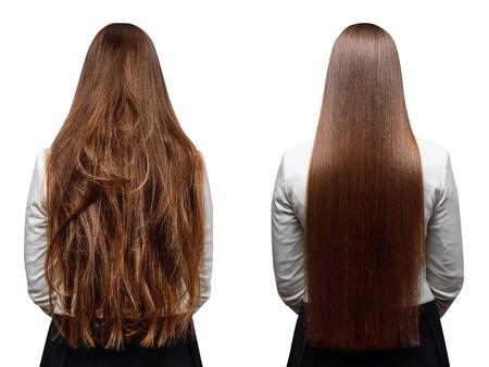 Cheratina per la cura dei capelli malati, tagliati e sani. Prima e dopo il trattamento.