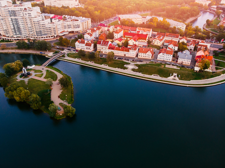 Aerial view drone, cityscape of Minsk, Belarus. Sunset. Panorama of Nemiga district