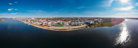 Panoramic view Tomsk of city Autumn, Tom river. Drone aerial top view.
