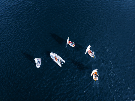 Aerial drone competitions sport white yachts and boats on blue water of sea. Concept travel