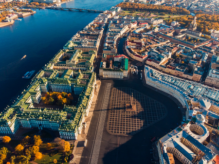 Top view aerial drone on Palace square, state Hermitage Museum, Alexander column, field of Mars and bridge over Neva River Stock Photo