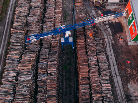 Production of wood processing sawmill, cranes, top view aerial drone Stock Photo