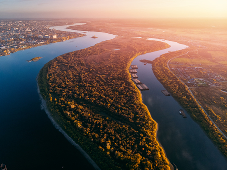 Panoramic view Tomsk of city Autumn, Tom river port ships. Drone aerial top view.