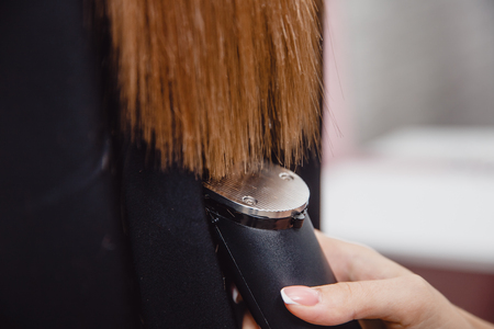 Hairdresser salon Restoration of hair structure, clipping damaged tips Stockfoto