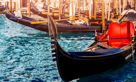 Gondola for renting tourists along Grand Canal in Venice, Italy. 스톡 콘텐츠