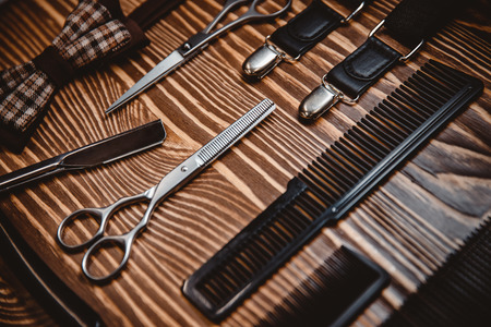 Shaving and grooming vintage accessories in barber shop. Top view