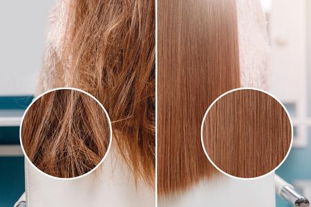 Krankes, geschnittenes und gesundes Haarglättung. Vor und nach der Behandlung.